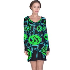 Green and blue abstraction Long Sleeve Nightdress