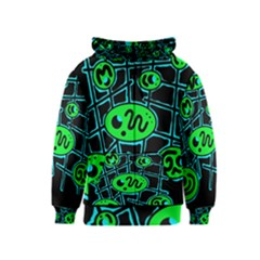 Green and blue abstraction Kids  Zipper Hoodie