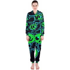 Green and blue abstraction Hooded Jumpsuit (Ladies)