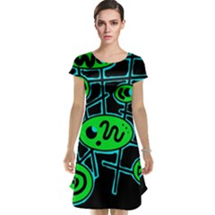 Green and blue abstraction Cap Sleeve Nightdress