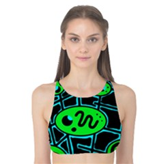Green and blue abstraction Tank Bikini Top
