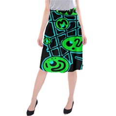 Green and blue abstraction Midi Beach Skirt