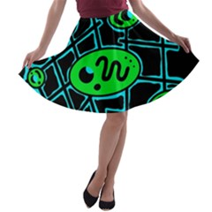 Green and blue abstraction A-line Skater Skirt