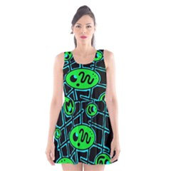 Green And Blue Abstraction Scoop Neck Skater Dress