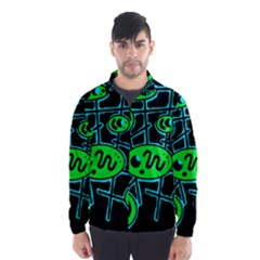 Green and blue abstraction Wind Breaker (Men)