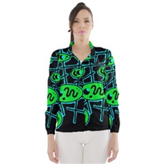 Green and blue abstraction Wind Breaker (Women)