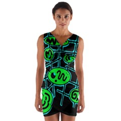 Green and blue abstraction Wrap Front Bodycon Dress