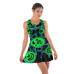 Green And Blue Abstraction Cotton Racerback Dress
