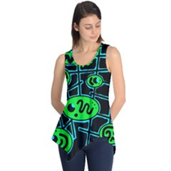 Green and blue abstraction Sleeveless Tunic