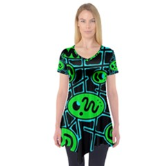 Green and blue abstraction Short Sleeve Tunic