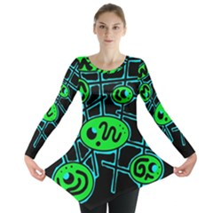 Green and blue abstraction Long Sleeve Tunic