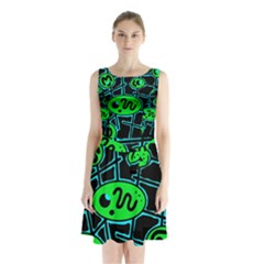 Green And Blue Abstraction Sleeveless Chiffon Waist Tie Dress