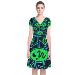 Green and blue abstraction Short Sleeve Front Wrap Dress