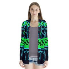 Green and blue abstraction Drape Collar Cardigan