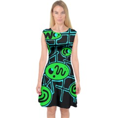 Green And Blue Abstraction Capsleeve Midi Dress