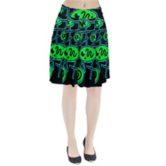 Green and blue abstraction Pleated Skirt