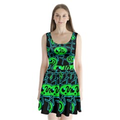 Green and blue abstraction Split Back Mini Dress