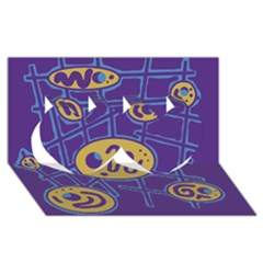 Purple and yellow abstraction Twin Hearts 3D Greeting Card (8x4)