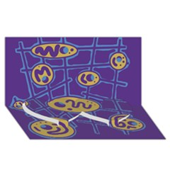 Purple and yellow abstraction Twin Heart Bottom 3D Greeting Card (8x4)
