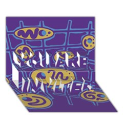 Purple and yellow abstraction YOU ARE INVITED 3D Greeting Card (7x5)