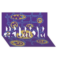 Purple and yellow abstraction #1 MOM 3D Greeting Cards (8x4)