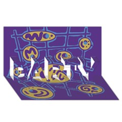 Purple and yellow abstraction PARTY 3D Greeting Card (8x4)