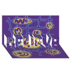 Purple and yellow abstraction BELIEVE 3D Greeting Card (8x4)