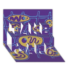 Purple and yellow abstraction TAKE CARE 3D Greeting Card (7x5)
