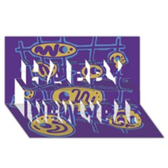 Purple and yellow abstraction Happy New Year 3D Greeting Card (8x4)