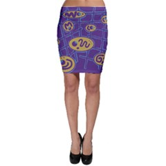 Purple and yellow abstraction Bodycon Skirt
