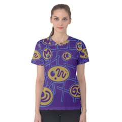 Purple and yellow abstraction Women s Cotton Tee