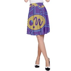 Purple and yellow abstraction A-Line Skirt