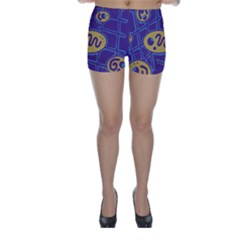 Purple and yellow abstraction Skinny Shorts