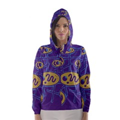 Purple and yellow abstraction Hooded Wind Breaker (Women)