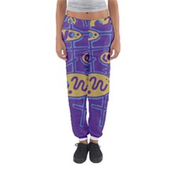 Purple And Yellow Abstraction Women s Jogger Sweatpants