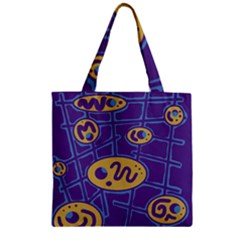 Purple and yellow abstraction Zipper Grocery Tote Bag