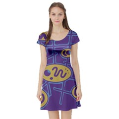 Purple and yellow abstraction Short Sleeve Skater Dress