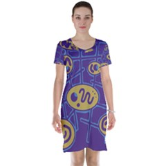 Purple and yellow abstraction Short Sleeve Nightdress