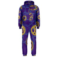 Purple and yellow abstraction Hooded Jumpsuit (Men)