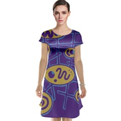 Purple and yellow abstraction Cap Sleeve Nightdress