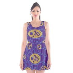 Purple And Yellow Abstraction Scoop Neck Skater Dress