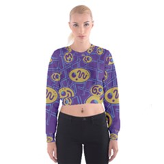 Purple and yellow abstraction Women s Cropped Sweatshirt