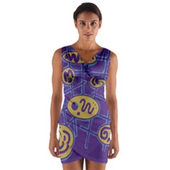 Purple and yellow abstraction Wrap Front Bodycon Dress