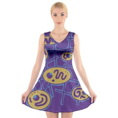Purple And Yellow Abstraction V Neck Sleeveless Skater Dress