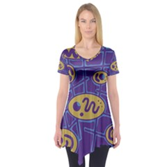 Purple and yellow abstraction Short Sleeve Tunic