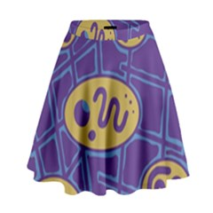 Purple and yellow abstraction High Waist Skirt