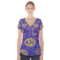 Purple and yellow abstraction Short Sleeve Front Detail Top