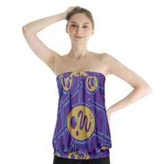 Purple and yellow abstraction Strapless Top