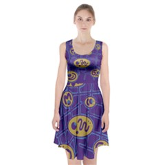 Purple and yellow abstraction Racerback Midi Dress