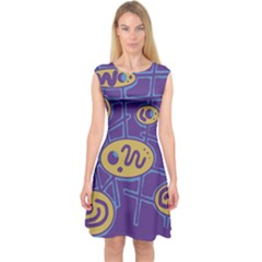 Purple and yellow abstraction Capsleeve Midi Dress